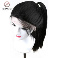 COLODO Long Kinky Straight Lace Front Artificial Hair Wig For Black Women Heat Resistant Synthetic Lace