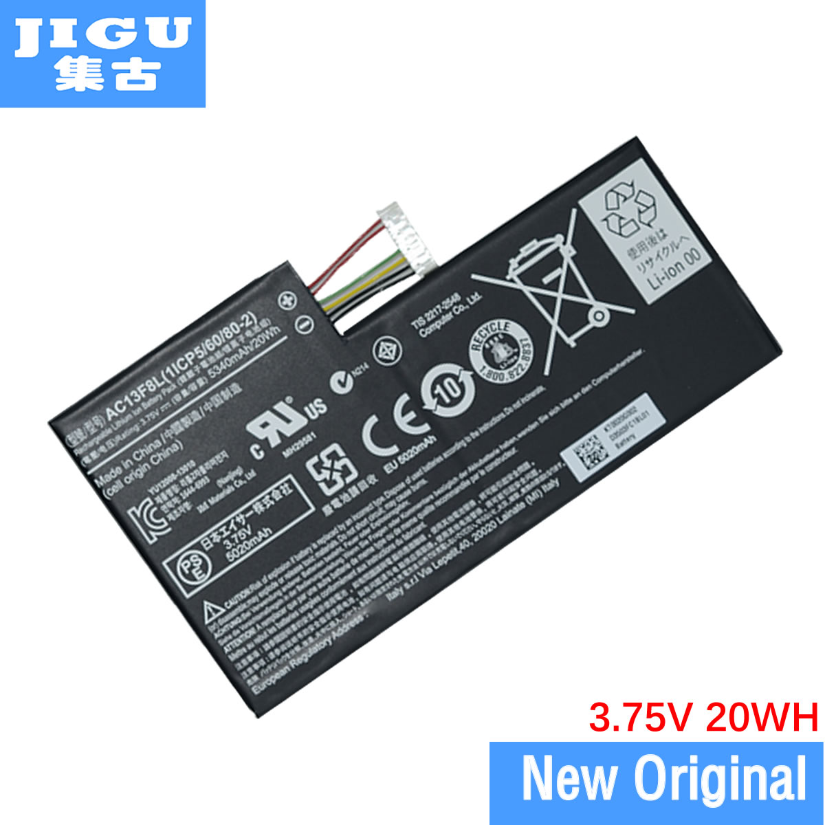 JIGU 1ICP5/60/80-2 Batteria PER Acer Iconia Tab A1-810 AC13F8L A1-811 W4-W4-820p 1CP5/60/80-2 AC13F3L LAptop Tablet PC