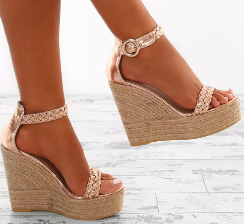 New Summer Women Sandals High Heel Platform Shoes Chunky Peep Toe Gladiator 5