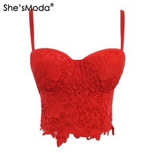 She'sModa New Embroidery Lace Push Up Bralet Women's Bustier Corset Wedding Party Corset Cropped Top Vest Plus Size