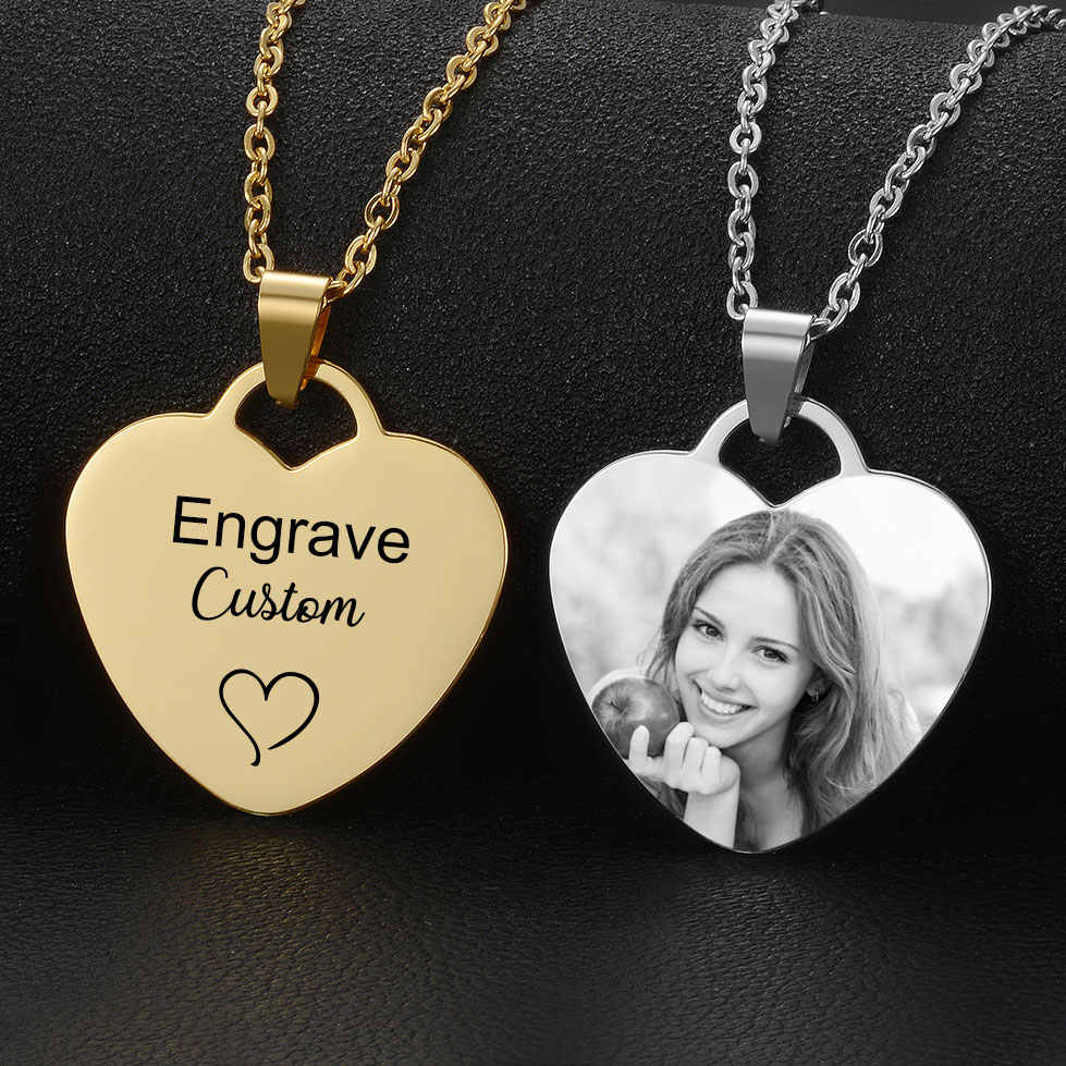 Personalized Custom Photo Text Engraved Pendant Gold Black Stainless Steel Heart Necklace Jewelry Gift for Women
