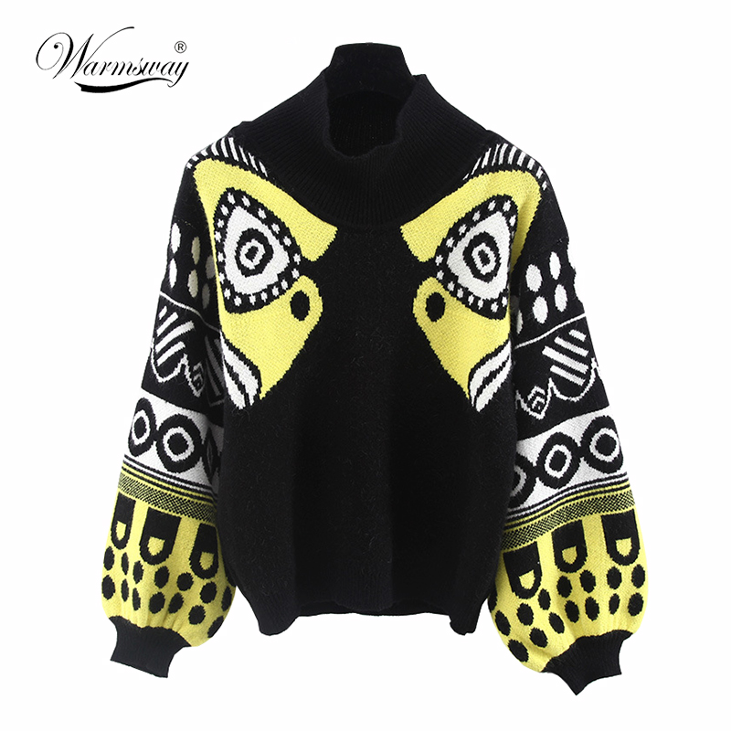 Celebrity Style Fall Winter HARAJUKU Multicolour half TurtleNeck Knitted top Women Sweaters and Pullovers Female Knitwear C 011