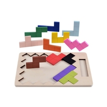 лучшая цена GEEK KING 2-4Years Wooden Puzzles Toy Tangram Brain Teaser Puzzle Toys Tetris Game Educational Kid Jigsaw Board Toy Gifts