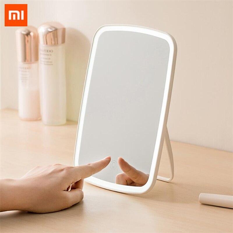 원래 xiaomi mijia 지능형 휴대용 메이크업 거울 데스크탑 led 빛 휴대용 접는 빛 거울 기숙사 데스크탑