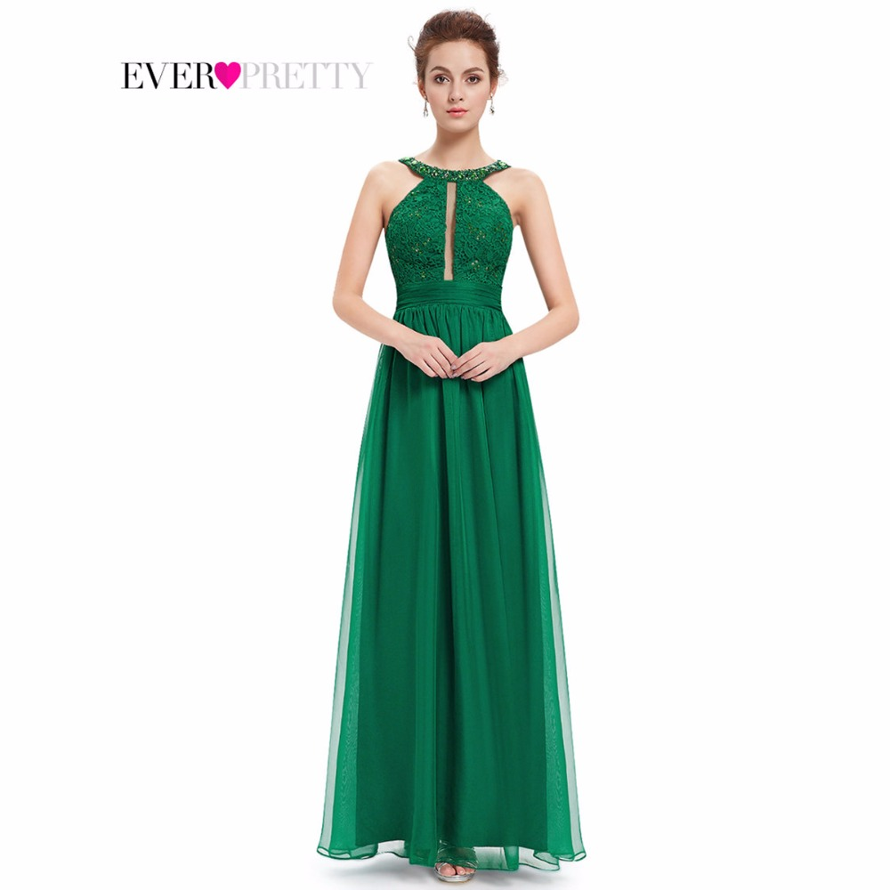 Manufacturer of elegant dresses evening dresses occasional wholesale - Long Evening Dresses 2017 Women Sexy Ever Pretty He08572 Beads Round Neck Wedding Events Green Lacy