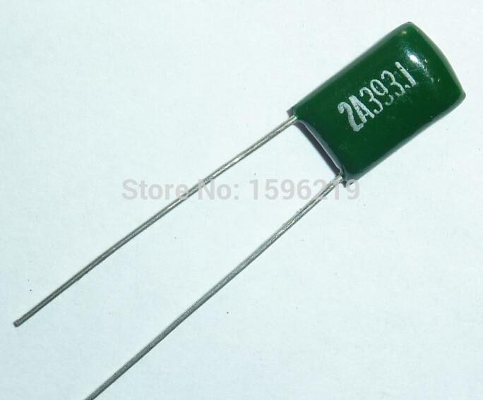 10pcs Mylar Film Capacitor 100V 2A393J 0.039uF 39nF 2A393 5% Polyester Film Capacitor