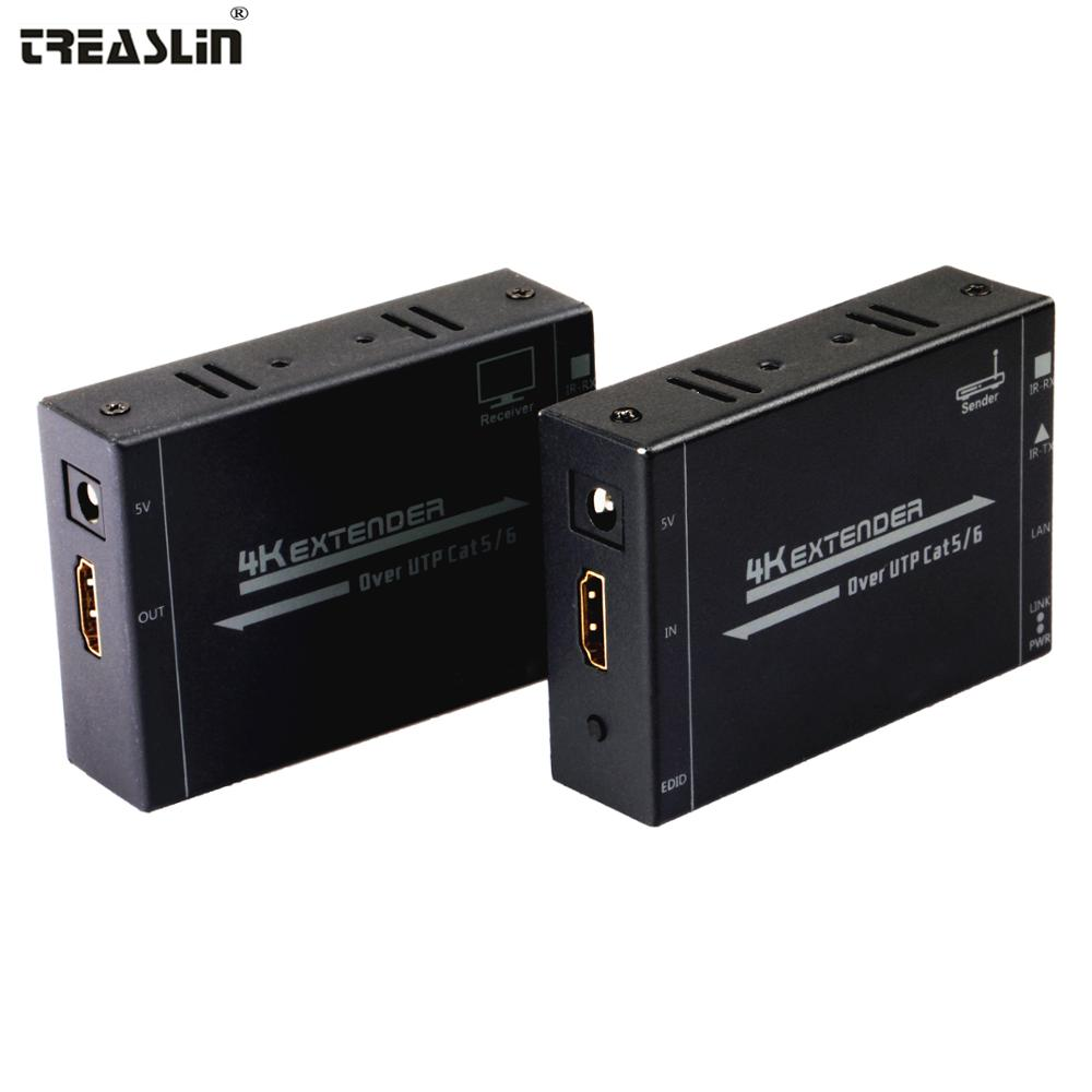TreasLin 4K HDMI Extender Over UTP Cat6 Cat6e Cat7 LAN Cable Up to 50M 4K*2K@30Hz HDMI Transmitter HDMI Receiver for HDTV PS4 TV