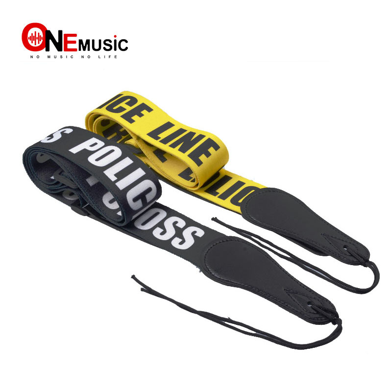 Police Line Gutiar Strap Adjustable Acoustic Guitar Strap bass Black-Yellow image
