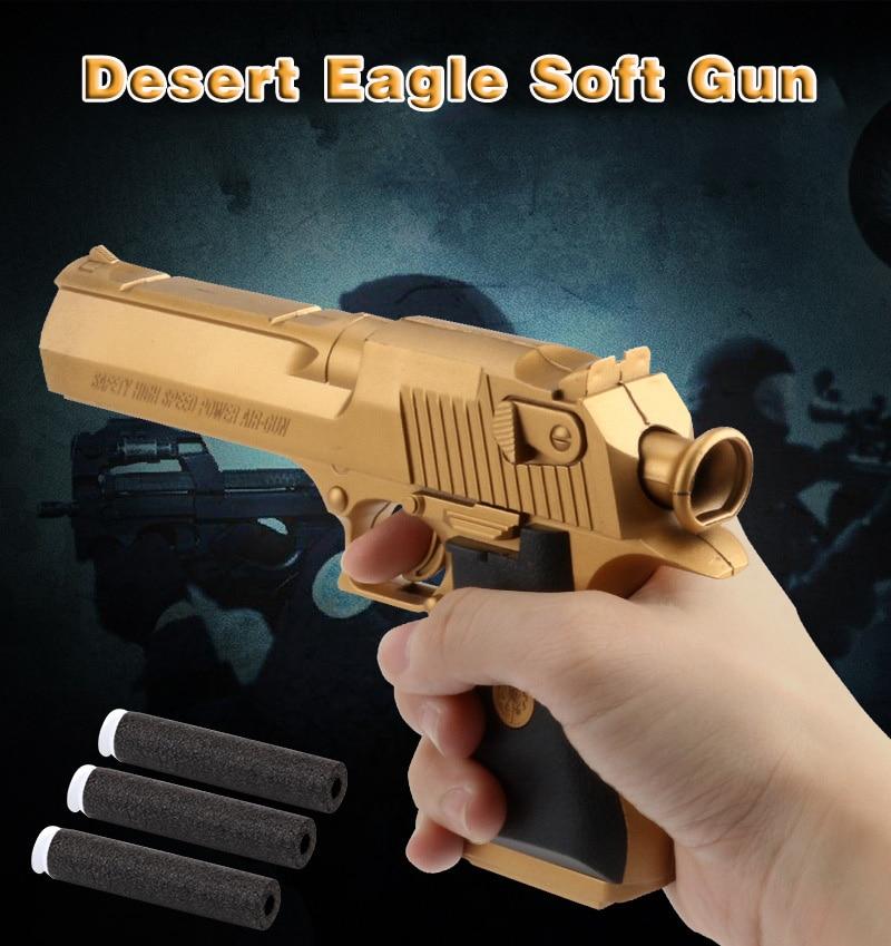 Plastic Children's Toy Gun Manual Water Gun Barrett Desert Eagle Pistol Boy Crystal Soft Bomb Water Bomb Outdoor Toy Gun Gift