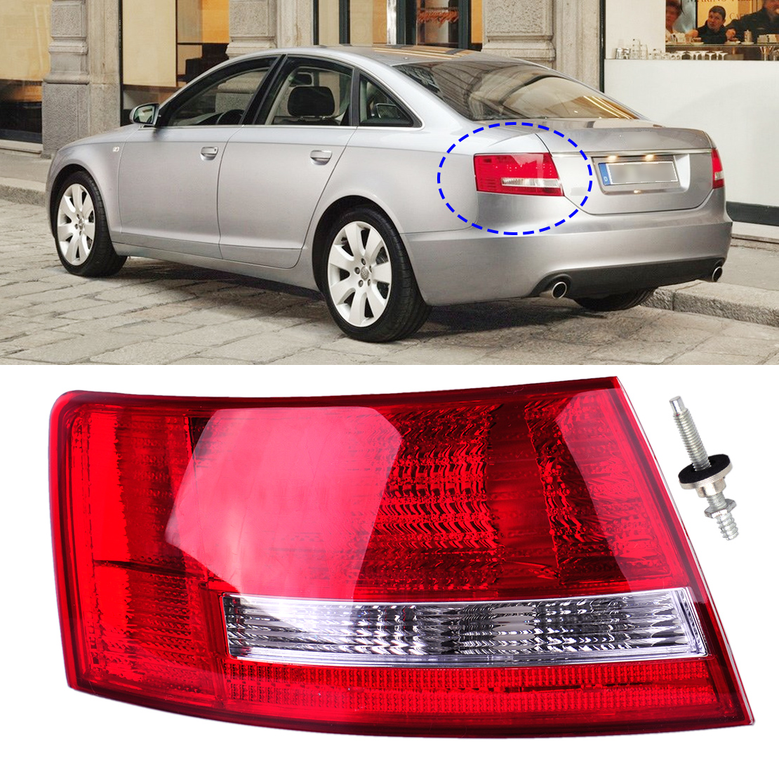 CITALL Left Tail Light Assembly Lamp Housing without Bulb for Audi A6 Quattro Sedan 2005 2006 2007 2008 4F5945095L 4F5945095D free shipping for skoda octavia sedan a5 2005 2006 2007 2008 right side rear lamp tail light