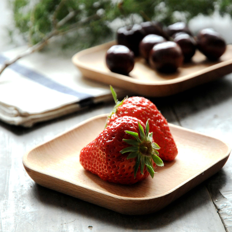 Malý dřevěný talíř Mini jídlo zásobník dort nádobí náměstí buk dřevo deska pro ovoce svačina sushi talíř hrnek tácek dřevěné nádobí  t
