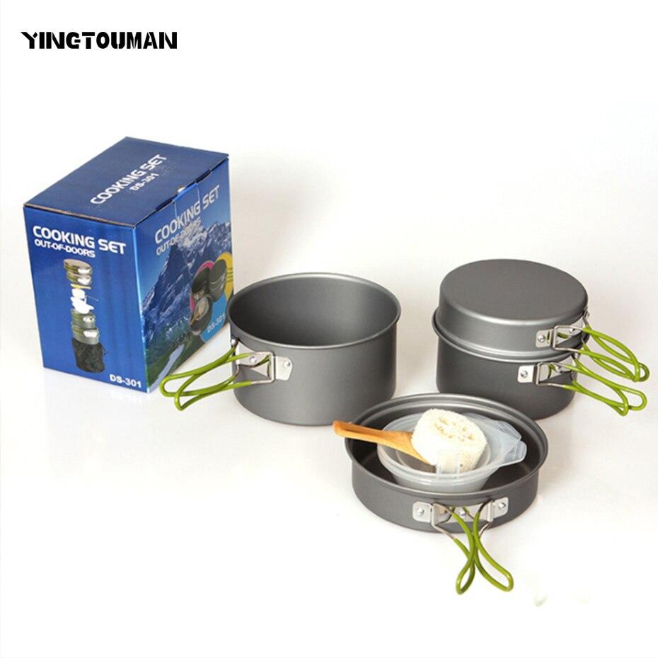 YINGTOUMAN Camping En Plein Air Ustensiles de Pique-Nique Vaisselle Pots Poêle Bol ensemble Pour Camping Voyage En Plein Air 2-3 Personne Pot ensembles