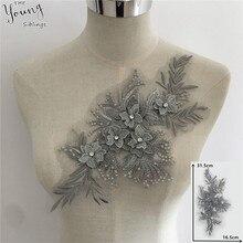 Broderie de fleurs 3D, col en strass Applique, garniture à coudre, dentelle, tissu, accessoires pour vêtements créatifs bricolage, nouvel arrivage