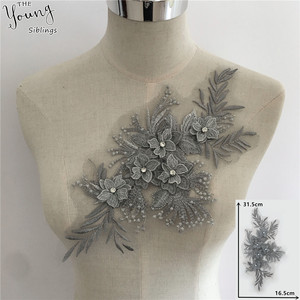 Image 1 - New arrive 3D flower Embroidery Applique Collar Rhinestone DIY Trim Sewing Neckline Lace Fabric Craft Clothing Accessories