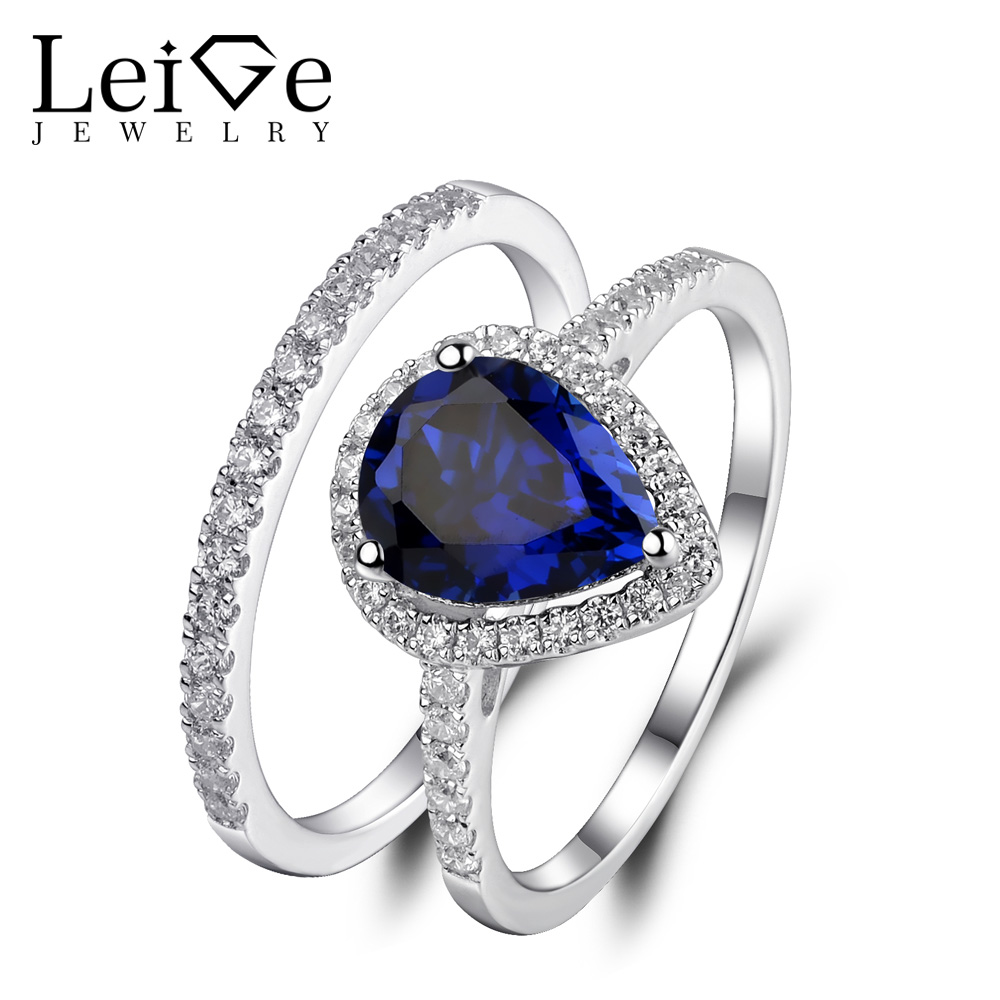 Leige Jewelry Sapphire Ring Set Pear Cut Blue Gemstone 925 Sterling Silver Wedding Promise Rings Set for Women Anniversary Gift