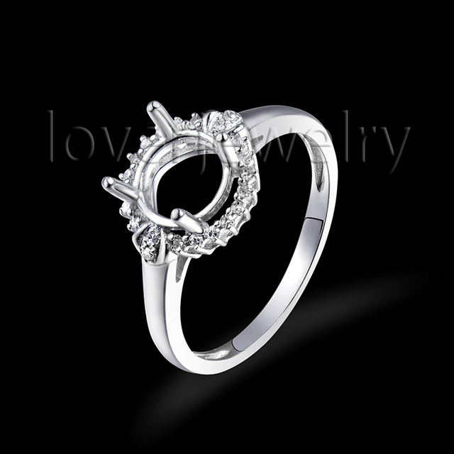 7mm Round Cut Charm Ring Settings Without Stones Natural Dia Solid 18k White Gold Wedding Jewelry