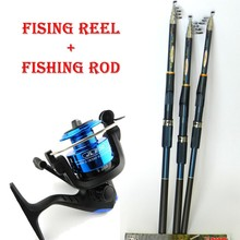 New Arrival 3 Colours Fishing Reels Spinning Reel Fish Tackle Rods Combo Fishing Rod and Reel Carbon FRP Rod Ocean Rock HJ092