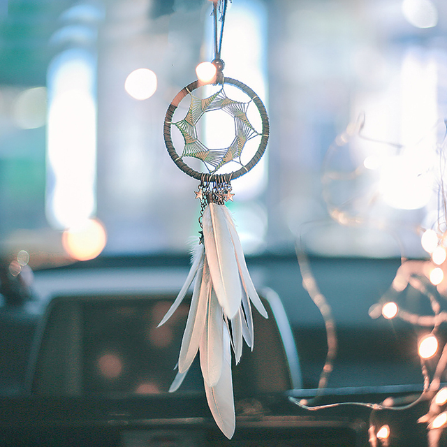Beautiful Feather Decoration Heptagram Car Pendant
