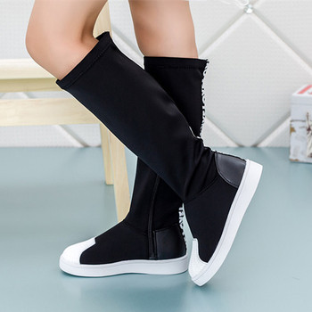 Child Boots For Girls Fashion Jackboots Kids Baby Knee Boots Shoes Shell Head Autumn Lycra Stretch Fabric Children Single Shoes