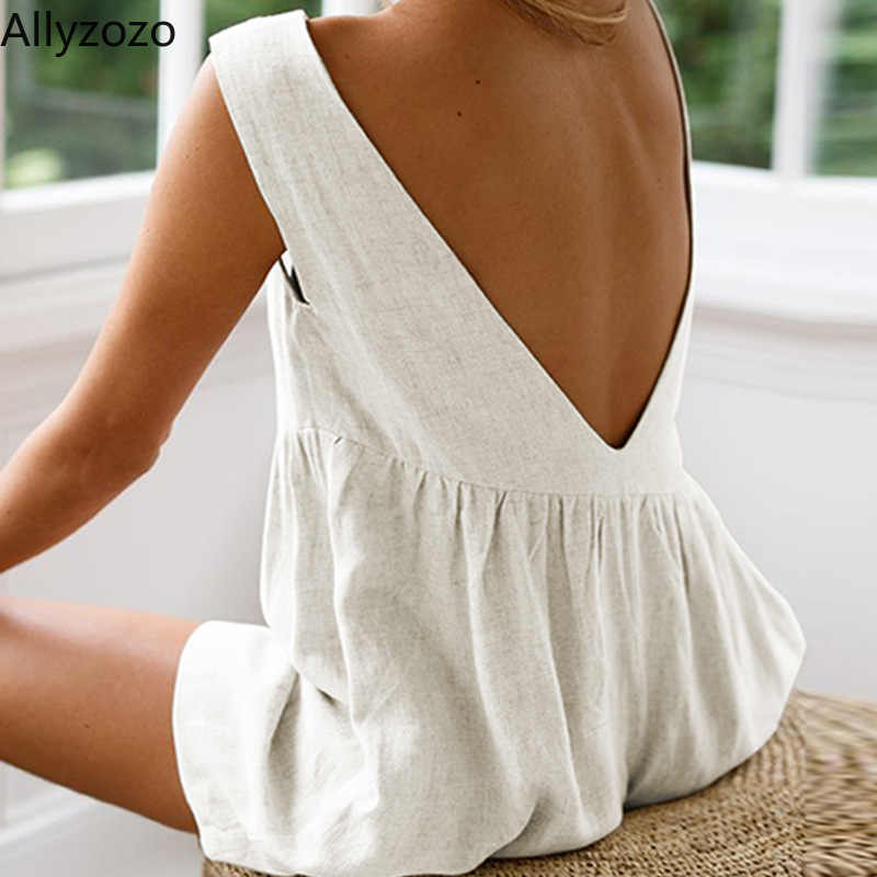 Allyzozo Streetwear ผู้หญิงฤดูร้อน Casual Playsuits Backless Hot Beach Cool Rompers เอวสูงแขนกุด Jumpsuits