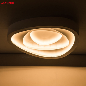 Image 3 - Plafonnier triangulaire au design créatif avec télécommande, luminaire de plafond, idéal pour un salon, une chambre à coucher, un couloir, un balcon, LED