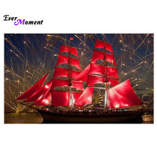DIY Diamond Painting Cross Stitch Diamond Embroidery Square Crystal Mosaic Red sail Pictures Needlework Stickers ASF016(China)