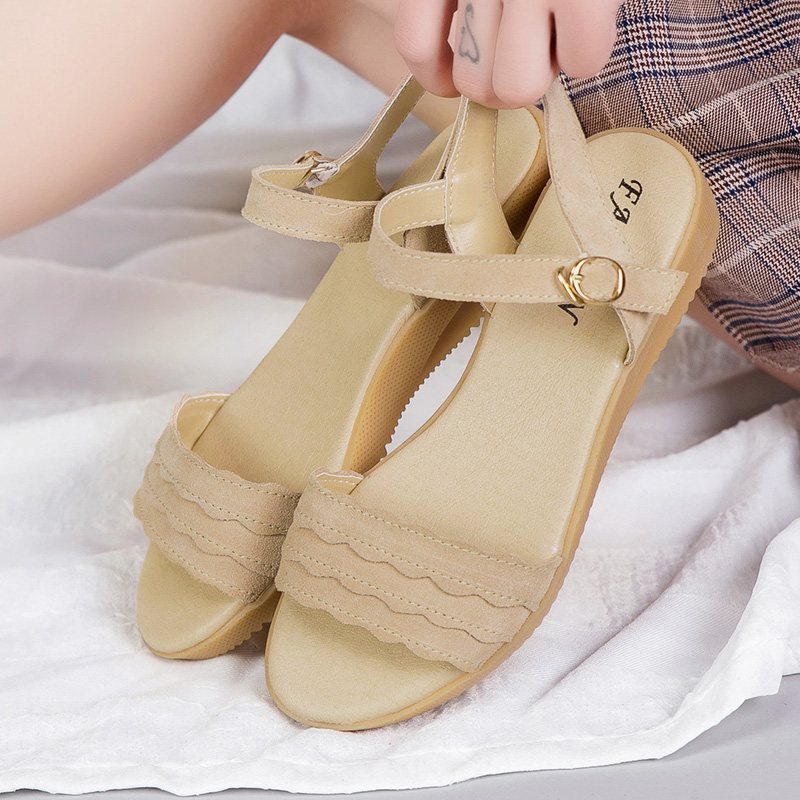 Roman Sandals Flats Beach-Shoes Gladiator Peep-Toe Fashion Summer Women Casual Buckle-Design