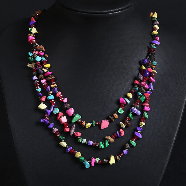 d4d152eaf0ca Nepal india del estilo tibetano de la vendimia irregular granos de la turquesa  collar tribal con