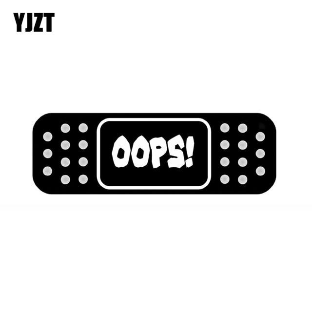 YJZT 15*5CM Fun OOPS! BAND AID JDM Decal Car Sticker Black