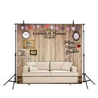 Allenjoy DIY placa de madeira fotografia fundo romântico Casamento Personalizado nome data frase cenário photocall