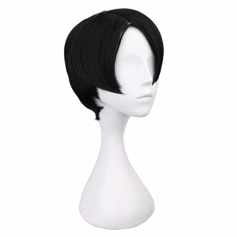 QQXCAIW  Short Straight Cosplay Levi / Rivaille Black 30 Cm Synthetic Hair Wigs