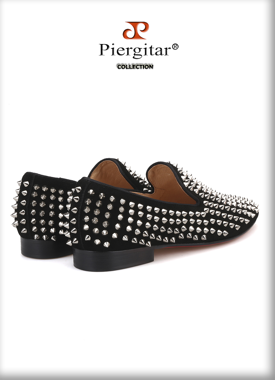 Handmade Men Black Nubuck Leather Shoes With Silver Rivet Fashion CL ... be015dce7bfd