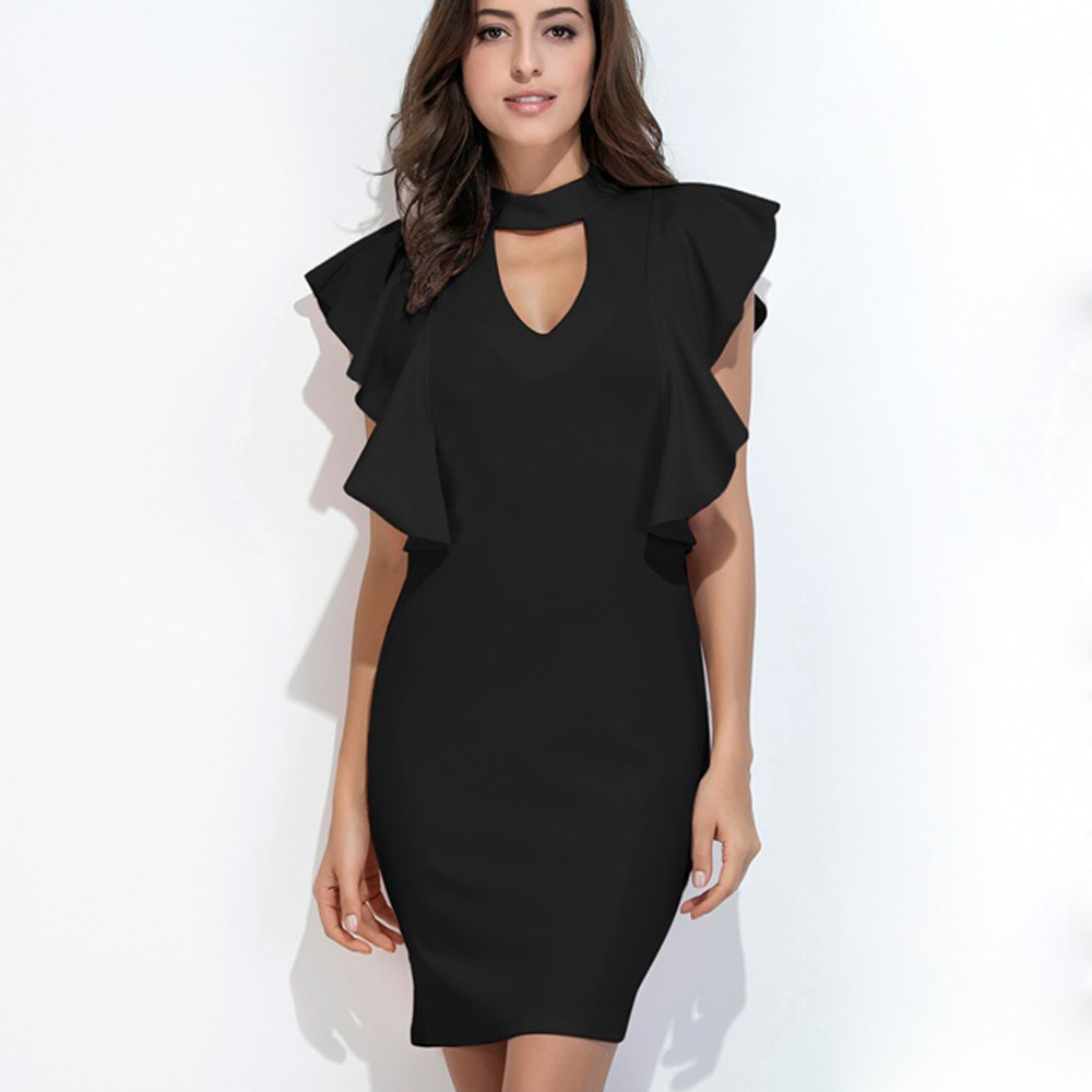 Black dress butterfly sleeve