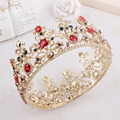 Fashion Baroque Hair Jewelry Crystal Pearl Women Wedding Crown Hair Accessories Gold Flower Headbands Bridal Tiara Earring Set