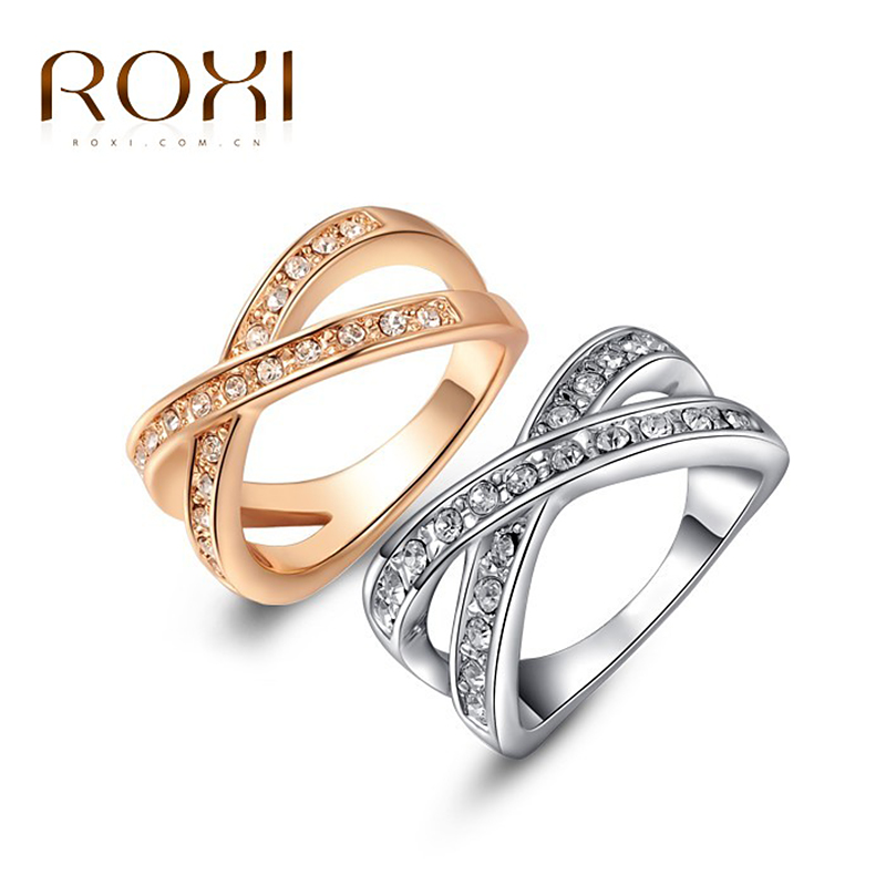 2017 ROXI Rose Gold Wedding Cross Ring White Color with AAA zircon Fashion Jewelry Romantic Mothers Gift