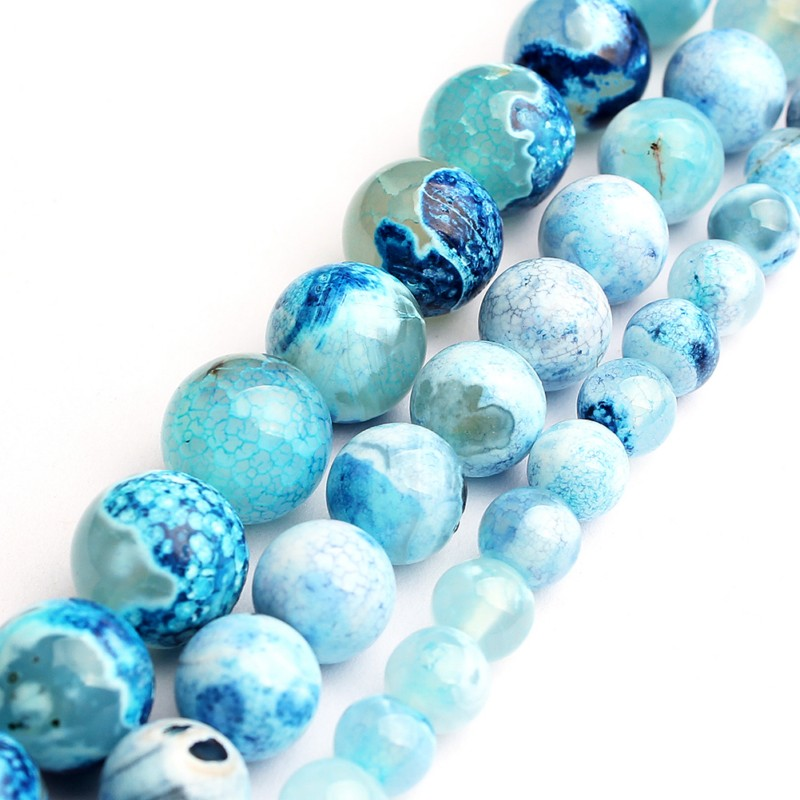 6 8 10mm Natural Stone Blue Fire Drogan Veins Agate 15 Inch Round Loose Beads For Jewelry Making Diy Bracelet Necklace Earrings