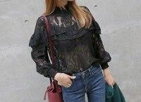 Fashion Long Sleeve Lace Blouse High Neck Ruffle Trim Floral Tops Crochet Blousa Trumpet Blouse
