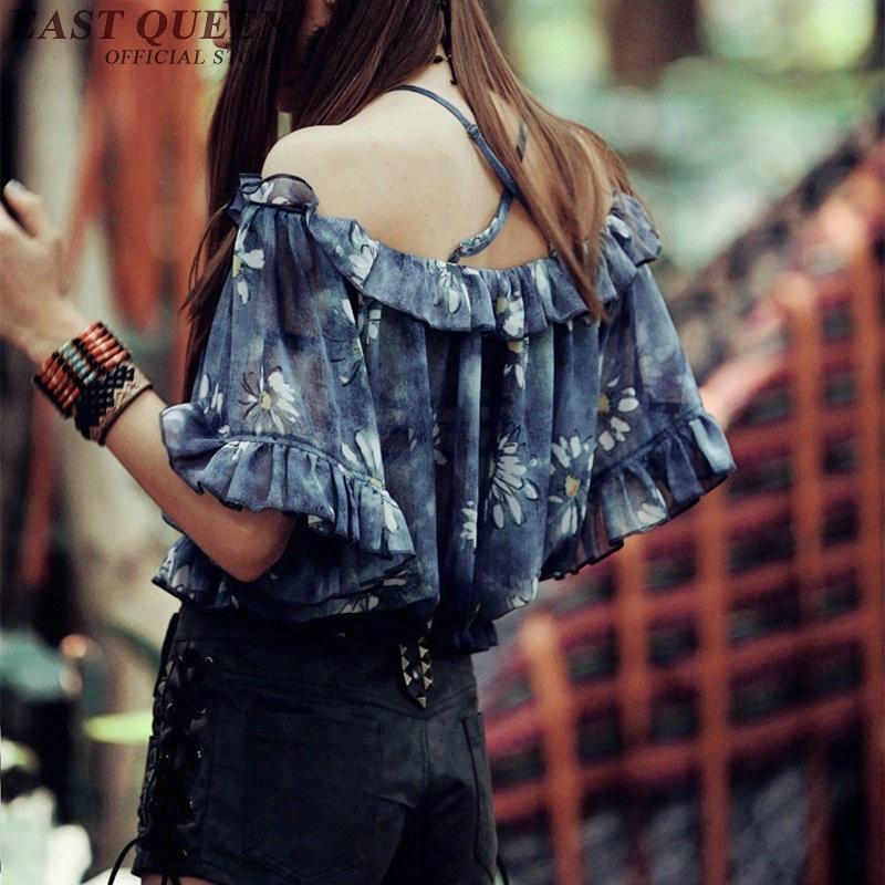 Vintage floral froid épaule hauts tribal imprimer blouses à manches courtes dos nu volants femme hors épaule haut court KK433 Q