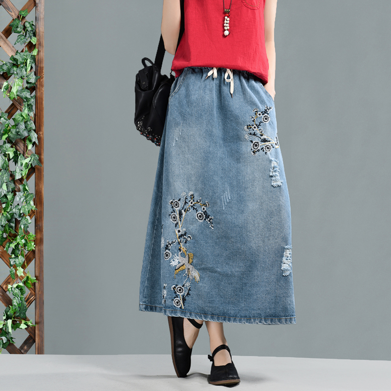 Moda Nueva Casual Señoras Retro Flor Las Bordado Elástica Denim Azul De Cintura Mujeres Bolsillo Falda Bowtie SCXq55