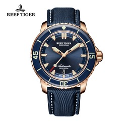 Rafa Tiger/RT Super świecenia zegarki do nurkowania dla mężczyzn złota róża niebieski zegarki tarczowe analogowy zegarki automatyczne RGA3035