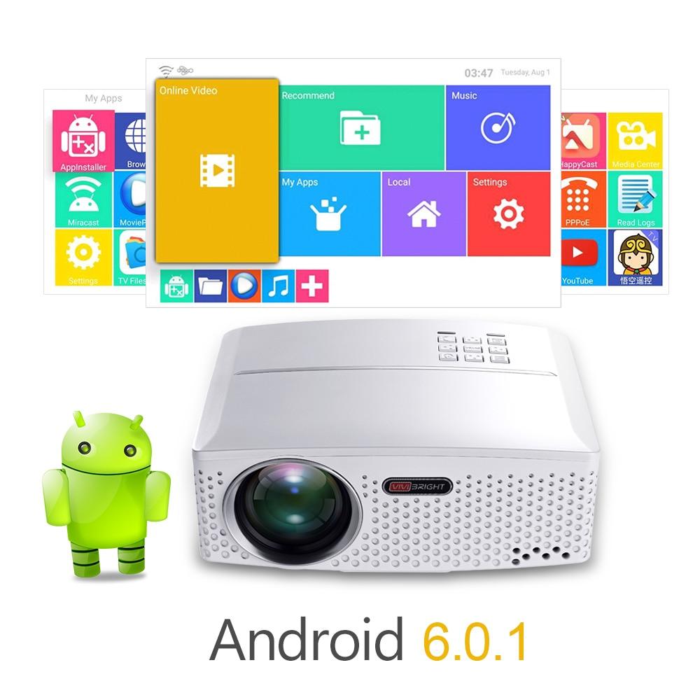 VIVIBright czyszczenie magazynu wyprzedaż projektor led GP80UP, wbudowany Android, Bluetooth WIFI, mieć w magazynie w brazylii, rosji