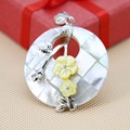 Fashion Chic 40mm White Natural Abalone seashells Yellow Flower pendants Accessories design Retail and wholesale Series