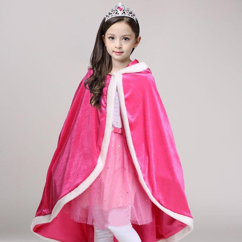Children Christmas Clothing Girls Kids Elsa Cloak Children Halloween Cosplay Girls Cartoon Shawl Girls Hooded Outerwear Clothes