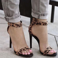 TINGHON 2019 Ladies Gladiator Sandals Leopard Thin Heels Buckle Strap Sexy Womens Shoes With Heel Party