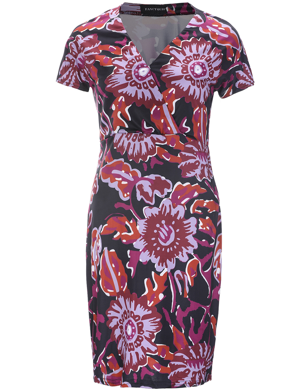 Summer Knee Length Dress Women Red Floral Print Dress V-Neck Short Sleeve Retro Elegant Sexy Pencil Dress Real Pic