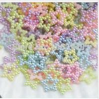 1000 unids 12mm color mezclado ABS hueco estrella de la perla perlas flatback scrapbooking accesorios caja del teléfono celular 3d cobachon diy joyería
