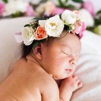 Newborn Baby Flower Halo Floral Crown Hair Wreath Headband Infant Baby Girls Birthday Hair Accessories Photography