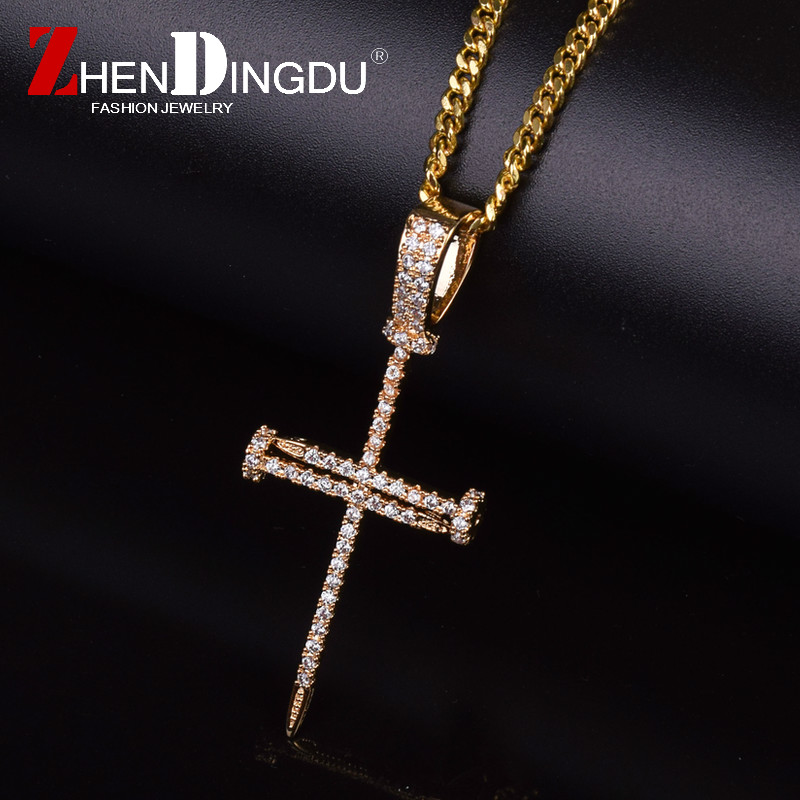 Gold Zircon Nail Cross Pendant Gold Silver Copper Material Iced Out Cross CZ Pendants Necklace Chain Fashion Hip Hop Jewelry