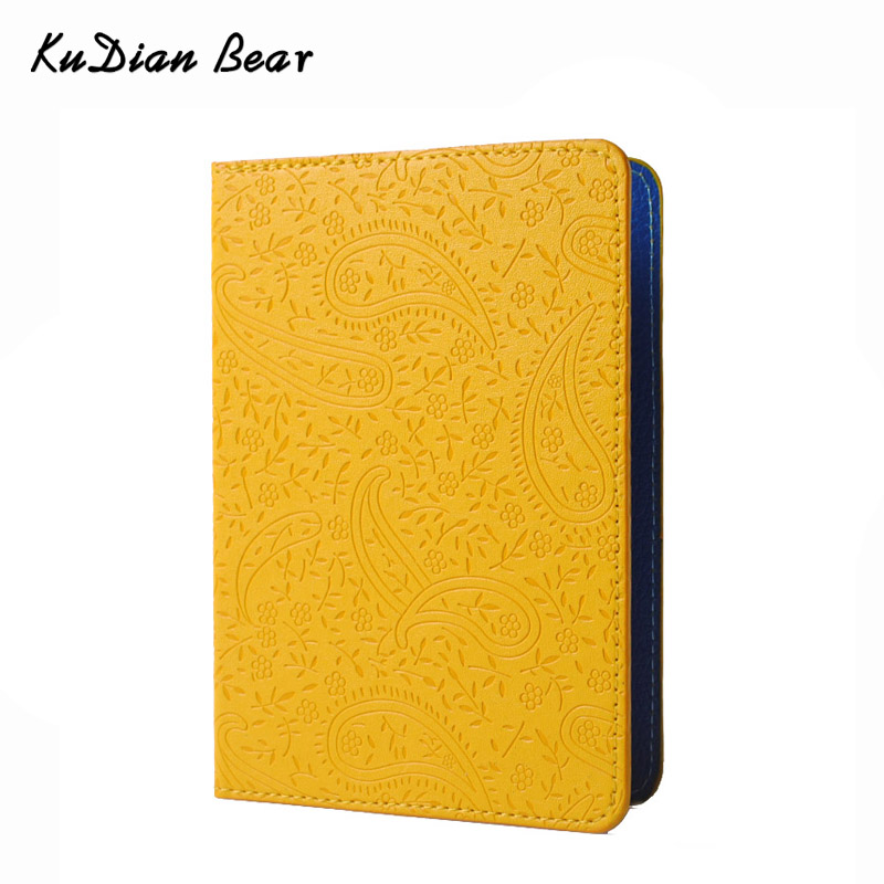 цена на KUDIAN BEAR Passport Cover Women Rfid the Cover of the Passport Holder Designer Travel Cover Case Credit Card Holder -- BIY PM49