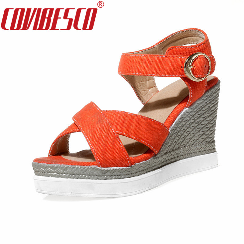 COVIBESCO Summer Shoes Woman Platform Sandals Women Wedges High Heels Casual Open Toe Gladiator Women Shoes Plus Size 2017 gladiator summer shoes woman platform sandals women flats soft leather casual open toe wedges sandals women shoes r18